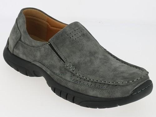 .He.-Schuh, Slipper, PVC-Sohle, 2 x Gummizug, Ziernähte, PU, grau