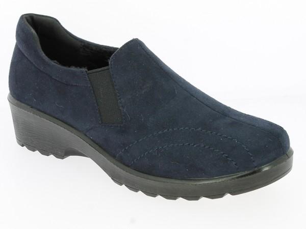 .Da.-Schuh, PU-Sohle, 2 Gummizüge, Warmfutter, Ziernähte, Mikrofaser, navy