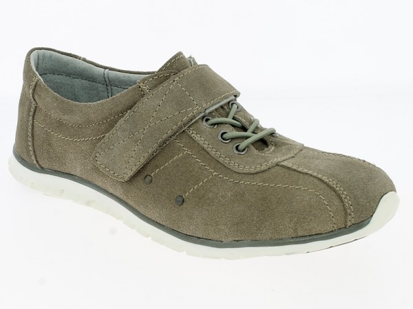 .Da.- Schuh, Schnürer, TPR-Sohle, 1x Klett, Leder, Lederinnenausstattung, khaki