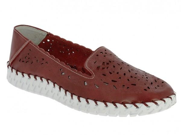 .Da.-Schuh, Gummi-Sohle, Slipper, Lederinnenausst., Leder m. Lochmuster, bordeaux