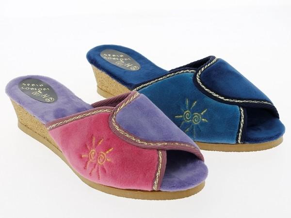 .Da.-Pantoffel, Sp., beige Sohle, Korkkeil, Plüsch mit Sonne, lila-bordeaux+navy-blau