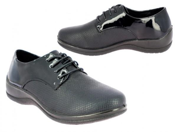 .Da.-Schuh, PU-Sohle, Schnürer, PU m. Krokooptik, hinaten Lack-PU, schwarz