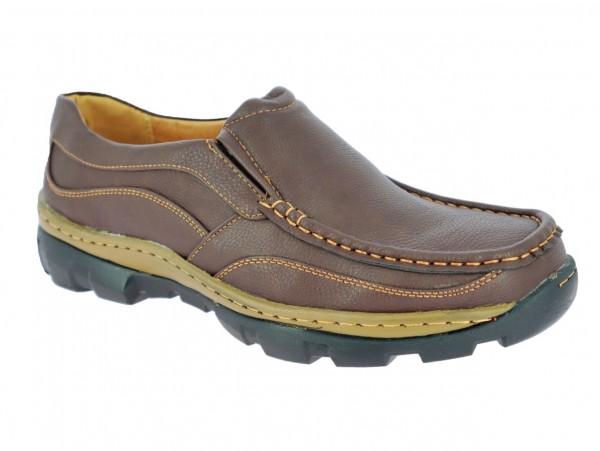 .He.- Schuh, PVC-Sohle, 2 x Gummizug, Slipper, PU, braun