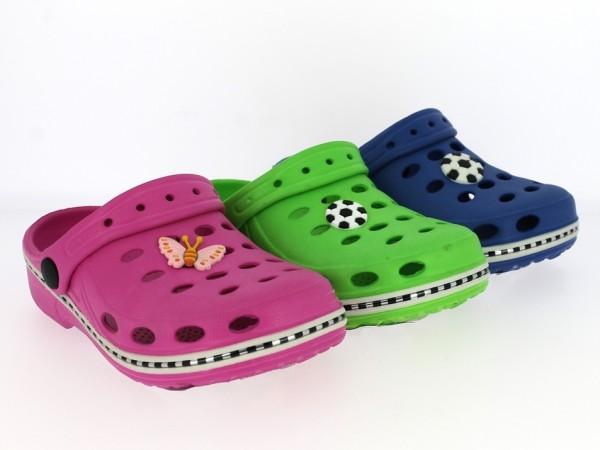 .Ki.-Clogs, mit versch. Applikationen, EVA-Sohle, navy+grün m. Fußball und pink m. Schmetterling