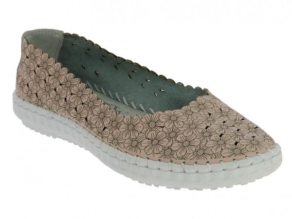 .Da.-Schuh, Gummisohle, bedrucktes Leder, Leder-Innensohle, Blumenmuster, altrosa