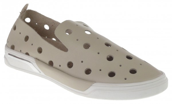.Da.-Schuh, TPR -Sohle, Slipper, großes Lochmuster, Lederinnensohle, PU, beige