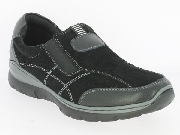 .Da.-Schuh, TPR-Sohle, 2x Gummizug, Ziernähte, Lederinnensohle, Wildleder, schwarz