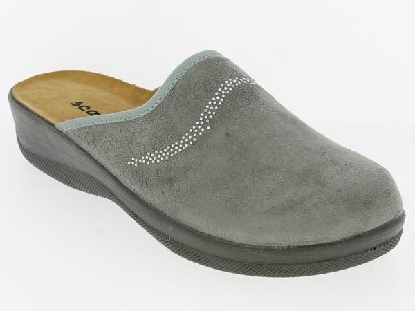 .Da.-Pantoffel, PU-Sohle, Textil mit Steinchen-Streifen, grau