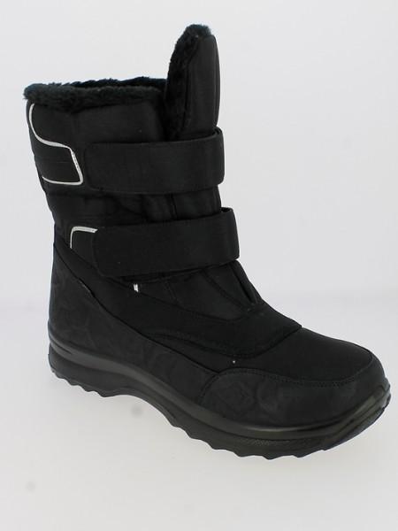 .He.-Stiefel, PU-Sohle, KAT-TEX, 2 x Klett, Warmfutter,PU/Textil, schwarz