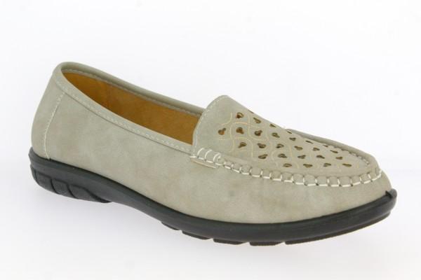 .Da.-Schuh, PVC-Sohle, Lochmuster vorn, PU, hl.grau