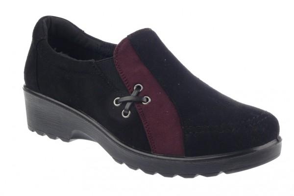 .Da.-Schuh, PU-Sohle, 2x Gummizug, Microfiber, Warmfutter, kl. Zierband, schwarz-weinrot