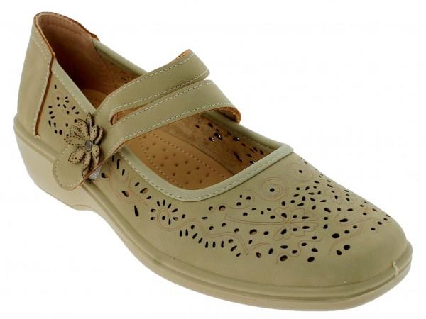 .Da.-Schuh, PU-Sohle, geteilt. Riemen m. Klettverschl., Lochmuster, PU, beige