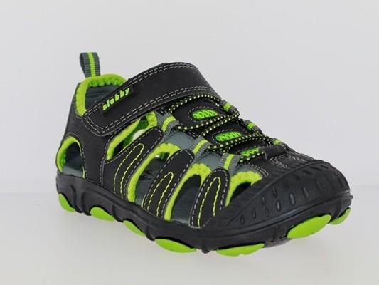 .Ki.-Sandalette, PU, 1 x Klett, Gummizug, Rubber-Sohle, schwarz-grün