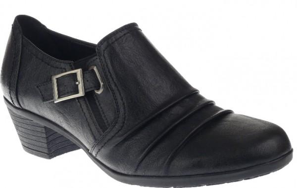 .Da.-Schuh, TPR-Sohle, 2 x Gummizug, seitl. Schnalle, kl. Absatz, PU, schwarz