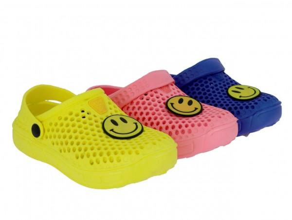 .Ki.-EVA-Clogs,mit Löcher+Riemen, Smily-Anstecker, blau + gelb + pink