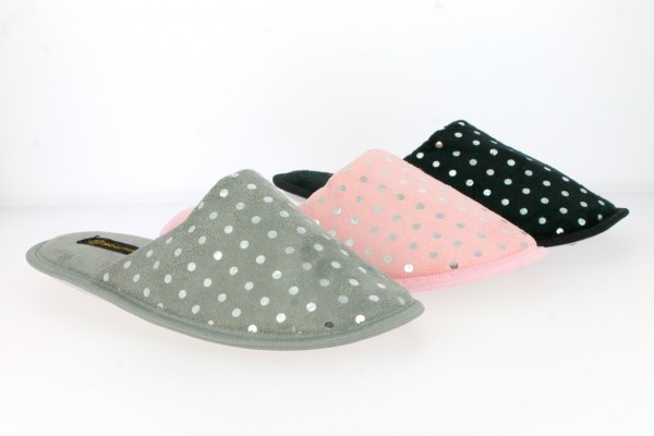 .Da.-Pantoffel, TPR-Sohle, mit Silber-Punkten, Textil, pink+grau+schwarz