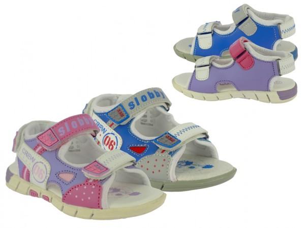 .Ki.-Sandalette, PU, 2 x Klett+Klettverschl. hinten, TPR-Sohle, lila-pink+blau-grau