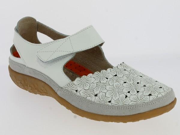 .Da.-Schuh, TPR-Sohle, Riemen m. Klettverschluss, Leder, Lederinnensohle, Blumenmuster, weiß
