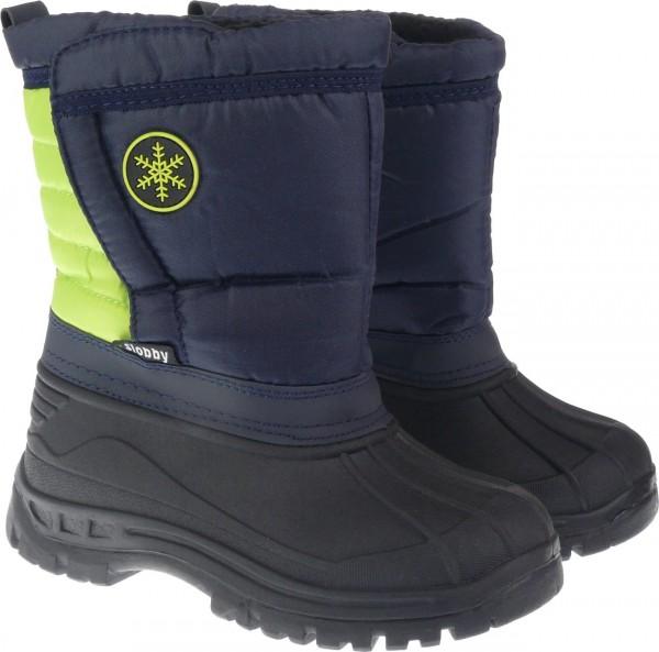 Ki.-Stiefel, PVC-Galosche, br. Klettverschluss, Nylon, Warmfutter, Schneeflocke grün + fuchsia