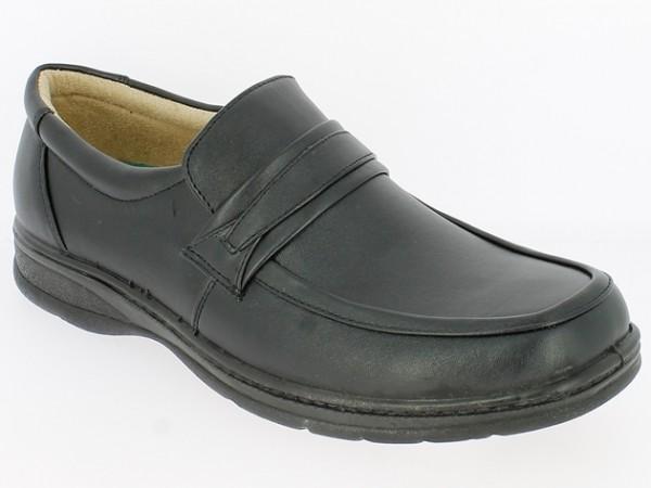 .He.-Schuh, PU-Sohle, Slipper, Gummizug mittig, PU, schwarz