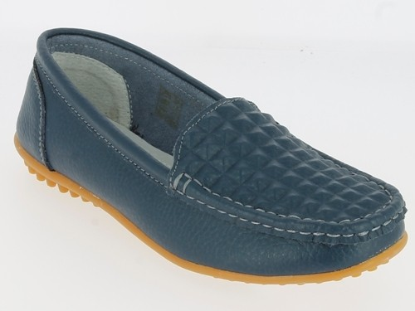 .Da.-Schuh, Slipper, Leder, Rubber-Sohle, Lederinnensohle, navy