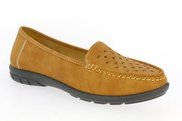 .Da.-Schuh, PVC-Sohle, Lochmuster vorn, PU, braun