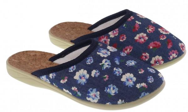 .Da.-Pantoffel, PU-Sohle, mit Blumenmuster, vorn zu, Textil, blau-rot+blau-weiß