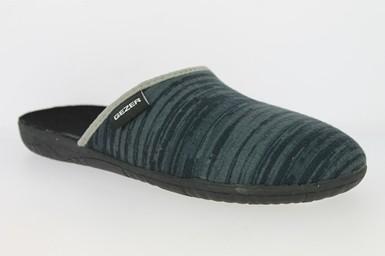 .He.-Pantoffel, TR, Textil, PVC-Sohle, d.blau