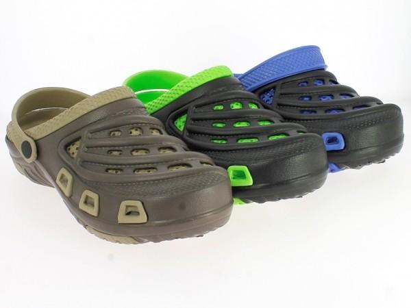 .He.-EVA-Clogs, mit Riemen, zweilagig gemustert, schwarz-grün+ schwarz-blau+ braun-beige