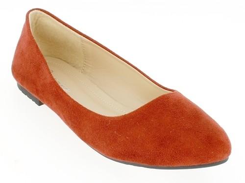 .Da.-Schuh, Slipper, Ballerina, Wildleder, TPR-Sohle, rot