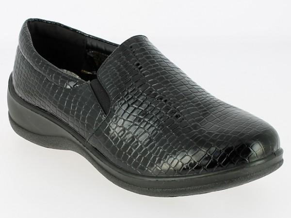 .Da.-Schuh, Slipper, 2 x Gummizug, PU m. Krokooptik, schwarz