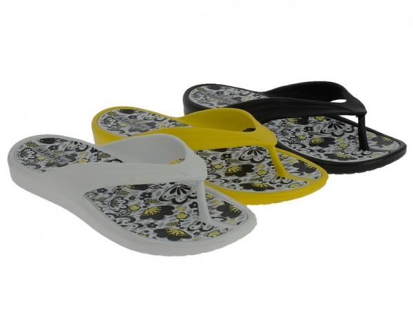 .Da.-Zehengreifer, EVA, Blumenmuster, schwarz + weiß + gelb