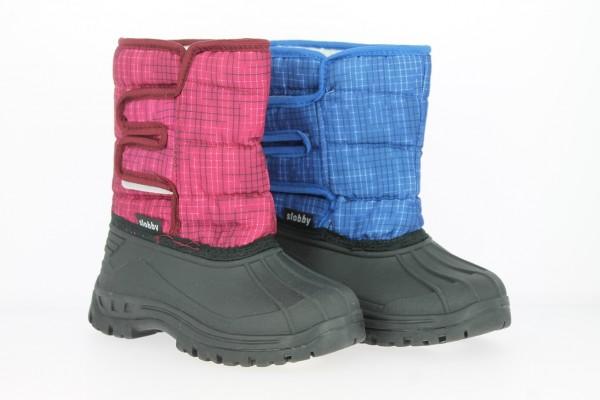 .Ki.-Stiefel, TPR-Galosche, seitl. Klettverschluss, Nylon, Warmfutter, gemustert, blau + rot