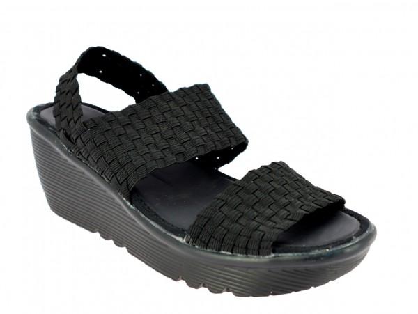 .Da.-Sandalette, geflochtenes elastisches PU, PU-Sohle, schwarz