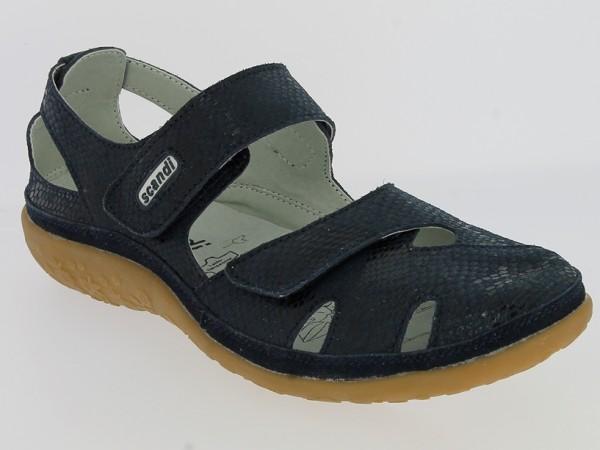 .Da.-Schuh, TPR-Sohle, 2xKlettverschluss, geprägtes Leder, Lederinnensohle, navy-glänzend