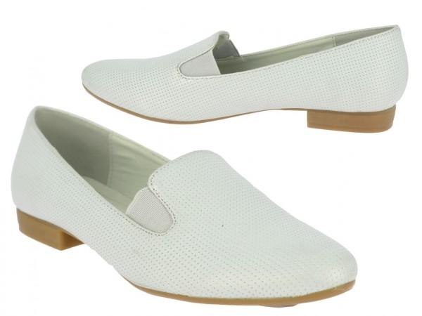.Da.-Schuh, Slipper, PU, 2 x Gummizug, gemustert, TPR-Sohle, grau