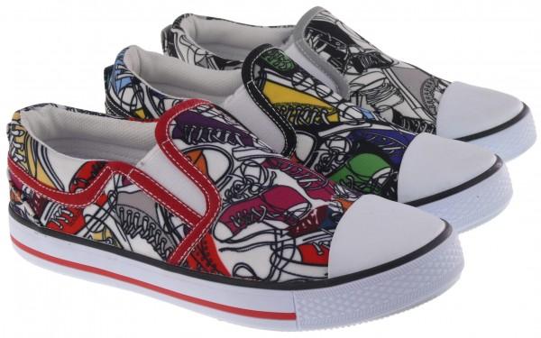 .Ki.-Freizeitschuh, PVC-Sohle, 2 x Gummizug, mit Schuhen bedruckt, Textil, rot+grau+schwarz