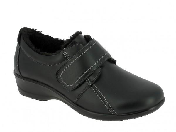 .Da.-Schuh, PU-Sohle, Klettverschl., Ziernähte, Warmfutter, PU, schwarz