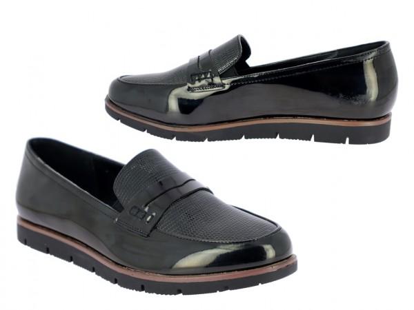 .Da.-Schuh, Slipper, TPR-Sohle, Lack/PU geprägt, schwarz