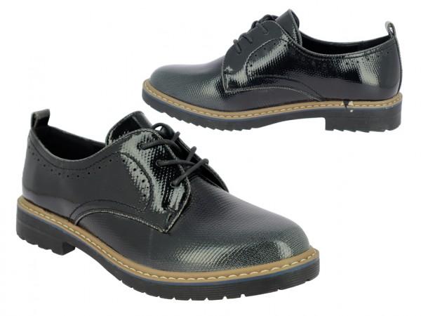 .Da.-Schuh, Schnürer, TPR-Sohle, geprägtes Lack/PU, mit Farbverlauf, schwarz