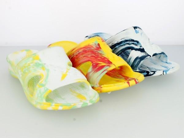 .Da.-Badepantolette, 1xBandage, weiß-grün+gelb-grün+weiß-h.blau gesprenkelt