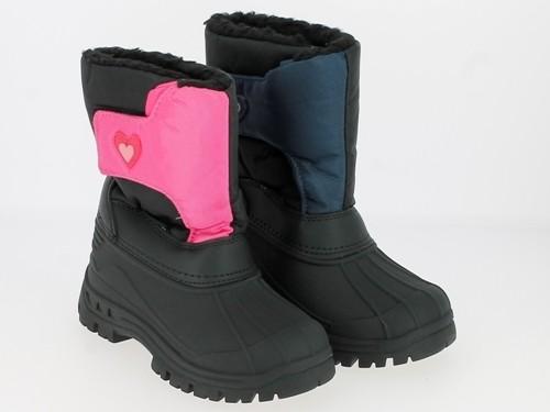 Ki.-Stiefel, TPR-Sohle, 1 x Klett, TPR-Galosche, Warmfutter, Oxford, schwarz-pink + schwarz-navy