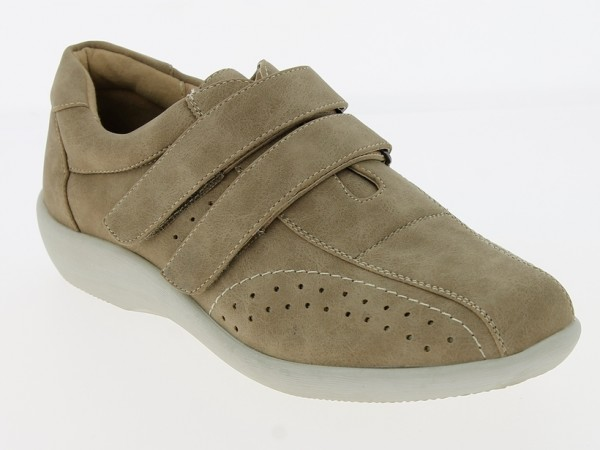 .Da.-Schuh, Gummisohle, 2x Klettv., seitl. gelocht, Ziernähte, PU, hl.braun