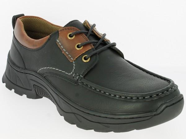 .He.-Schuh, Schnürer, Gummisohle, PU, schwarz-braun