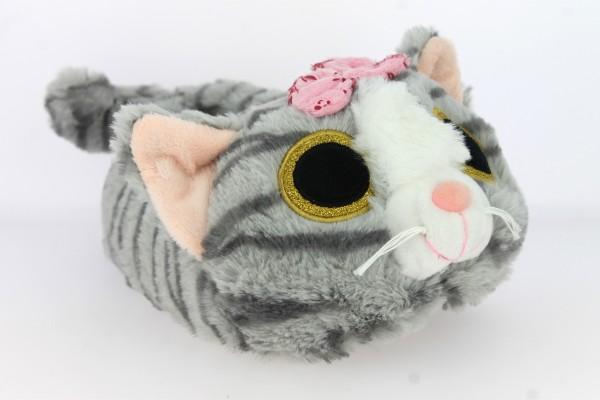 .Da.-Tierhausschuh, Teppich-Sohle, Katze mit Schleife, Plüsch, grau
