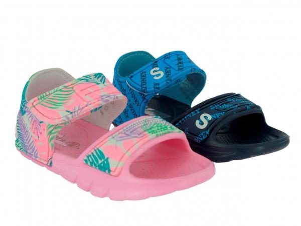Ki.-Sandalette, PVC, Fesselriemen mit Klett, pink + navy