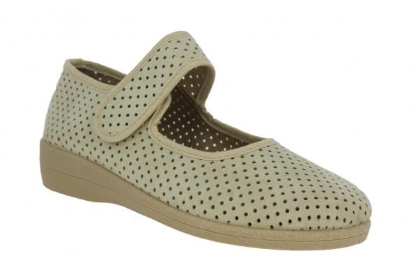 .Da.-Schuh, Sp., PU-Sohle, Riemen m. Klettverschl., herausnehmbare Innensohle, Textil, kl. Löcher, b
