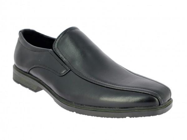 .He.- Schuh, Slipper, PVC-Sohle, 2 x Gummizug, PU, schwarz