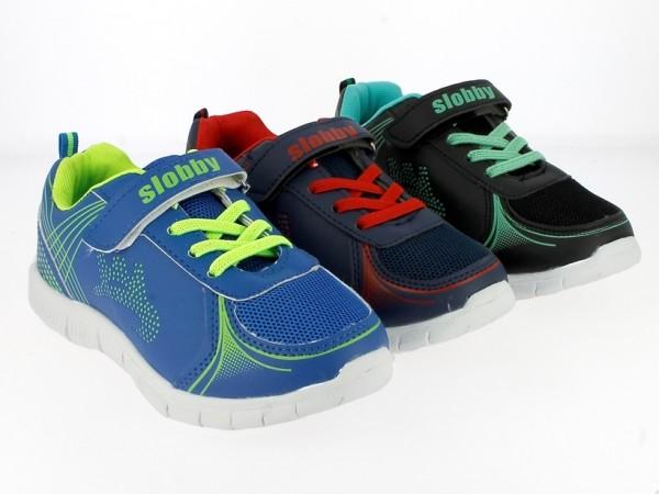 .Ki.-Sportschuh, EVA-Sohle, Gummizug+Klett, PU+Mesh, navy-rot+blau-h.grün+schwarz-grün