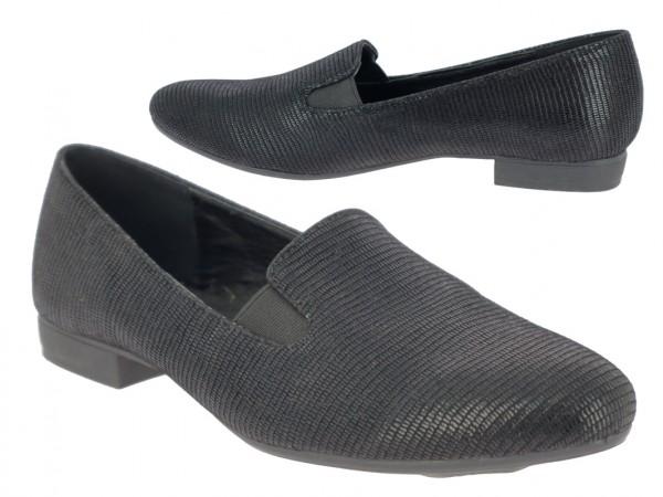 .Da.-Schuh, Slipper, Microfiber, 2 x Gummizug, gemustert, TPR-Sohle, schwarz